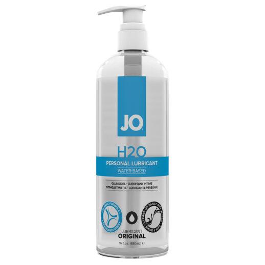 System JO H2O i en stor pumpflaska. Genomskinlig med blå text.