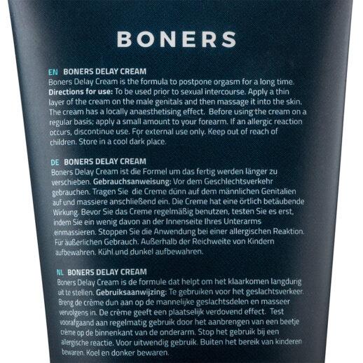 Bild på en fördröjningskräm från märket Boners. Boners Delay Cream.