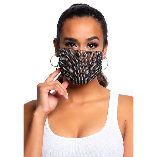 Harlow Rhinestone Face Mask Cover Svart