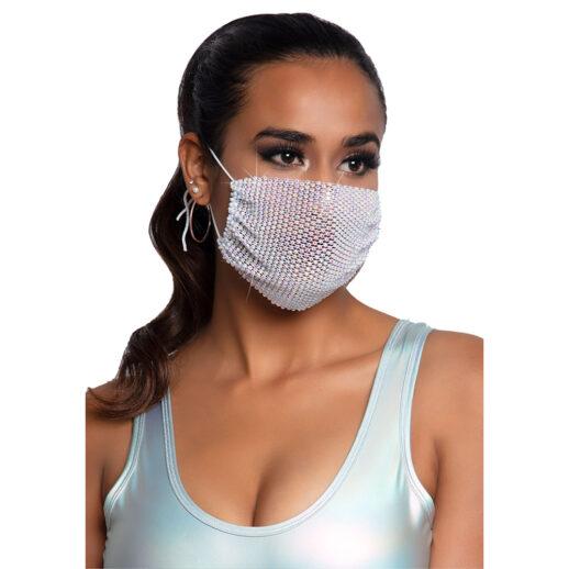 Harlow Rhinestone Face Mask Cover Vit