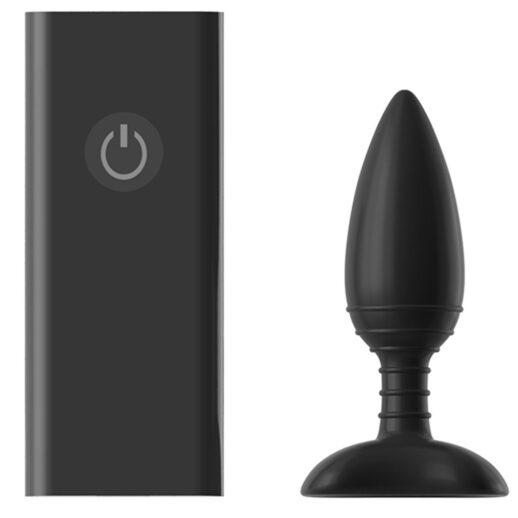 Bild på en svart vibrerande analplugg med tillhörande fjärrkontroll. Nexus Ace Remote Controlled Plug Medium.