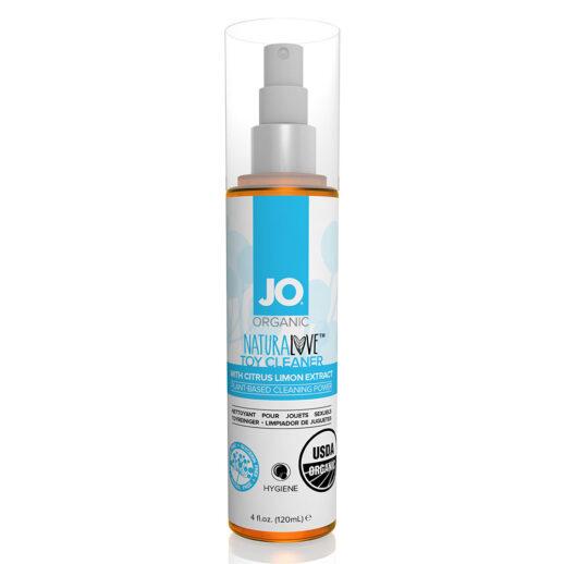 Bild på en flaska med rengöring för sexleksaker. System JO Naturalove Toy Cleaner.