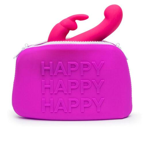 bild på en rosa förvaringsväska för sexleksaker med texten happy. Happy Rabbit Storage Bag Large.